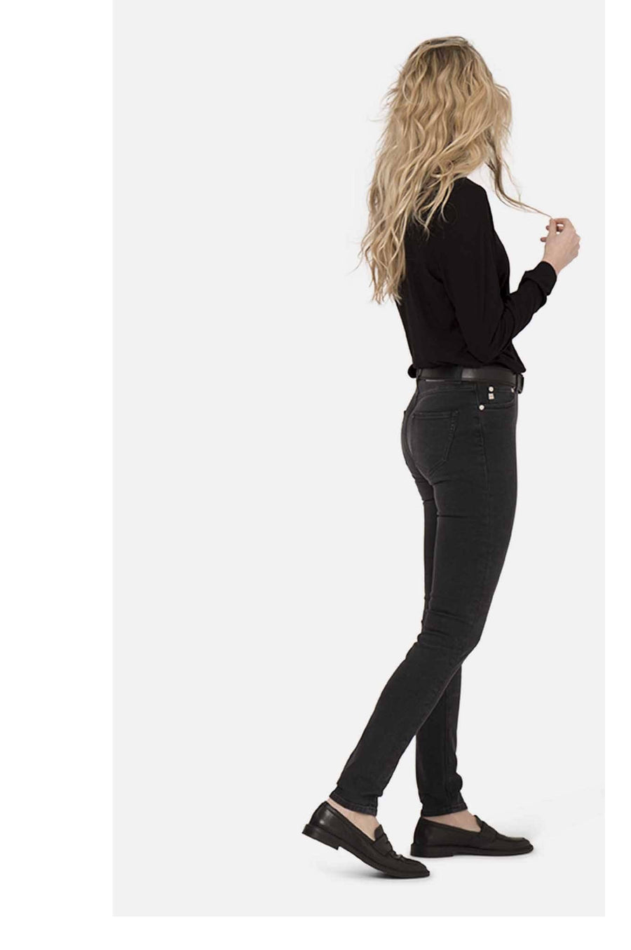 Trousers - HAZEN Womens High Waist Black Jeans By MUD