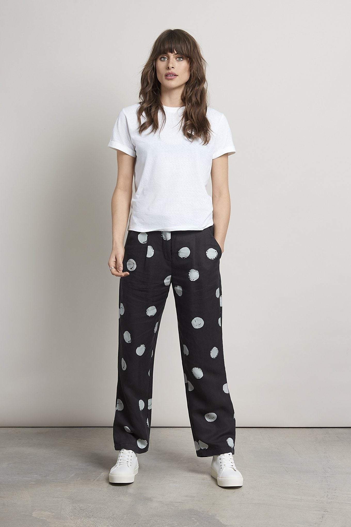 Trousers - KUSAMA DOT Tencel Linen Trousers