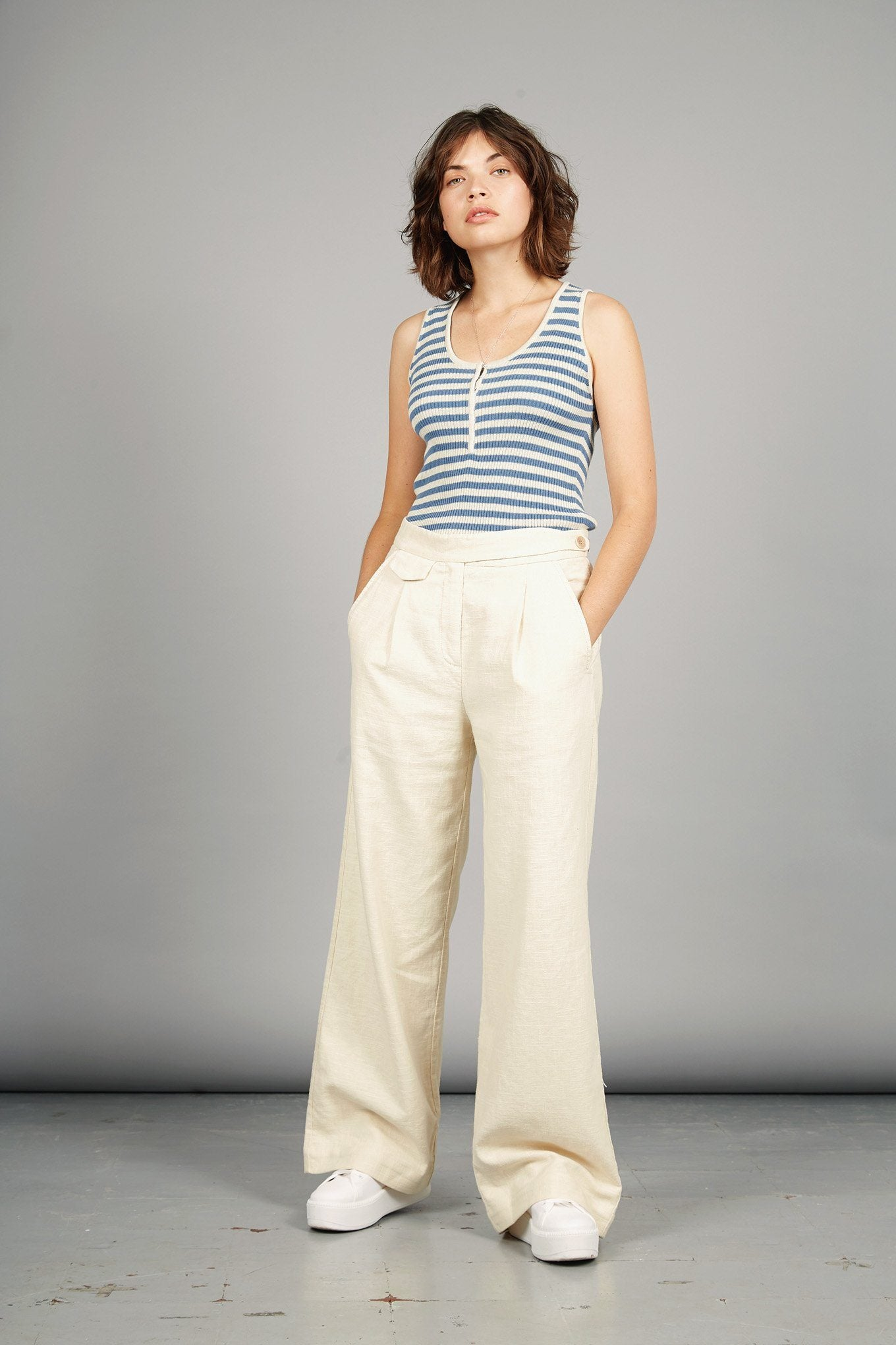 TIGER Culotte Organic Cotton & Linen Trousers Warm Sand - Komodo Fashion
