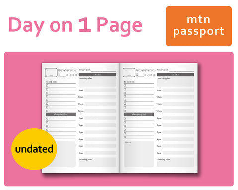 Day-on-a-Page (DO1P) for Midori Traveler's Notebook Passport Size