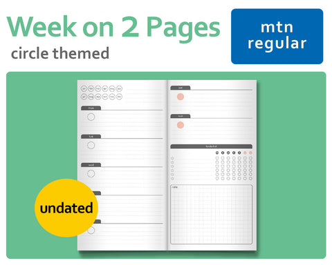 Circle-Themed Wo2P Week-On-2-Pages for Midori TN Regular Size