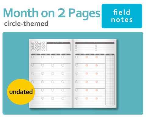 Circle-Themed Mo2P Month-On-2-Pages for Midori TN Field Notes Size