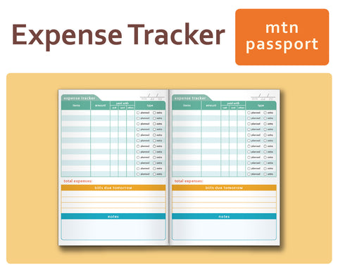 Expense Tracker - Midori TN Inserts Passport Size