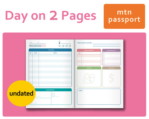 Day-on-2-Pages (DO2P) for Midori Traveler's Notebook Passport Size