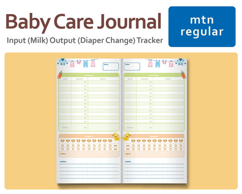 Baby Input (Milk) Output (Diaper Change) Tracker for Midori Traveler's Regular Size