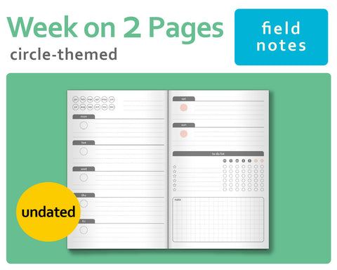 Circle-Themed Week-on-2-Pages (Wo2P) - Midori TN Inserts Field Notes Size