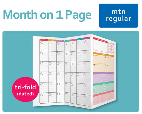 Month on a Page MO1P (Undated) Tri-Fold for Midori Traveler's Regular Size