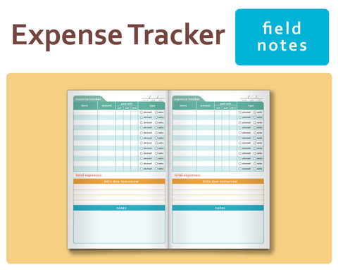 Expense Tracker for Midori Traveler's Notebook Field Notes Size