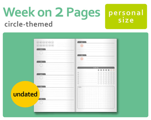 Circle-Themed Week-on-2-Pages (Wo2P) - Midori TN Inserts Personal Size