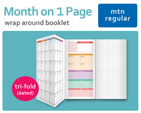 Month on a Page (Undated) Tri-Fold (Wrap Around Booklet) for Midori Traveler's Regular Size