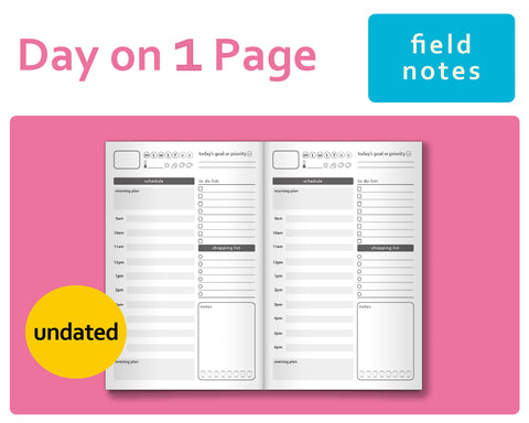 Day-on-a-Page (DO1P) for Midori Traveler's Notebook Field Notes Size