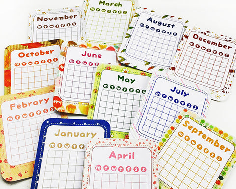 12 Month Calendar Cards-3x4 inch Printable Journal Cards