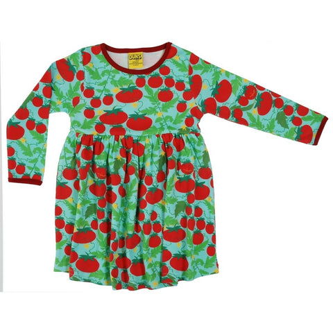 Duns Growing Tomatoes Turquoise Dress w gather skirt