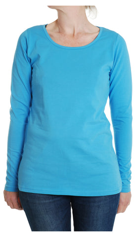 Adult MTAF Turquoise Plain Long Sleeve top