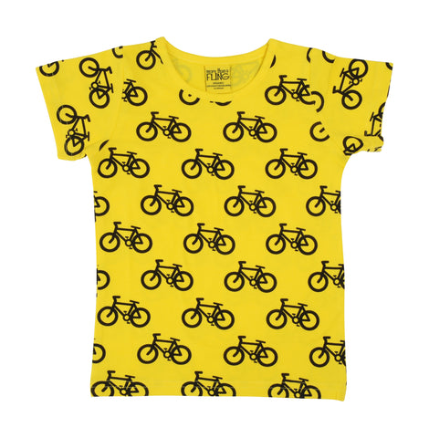 Adult MTAF Yellow Bike Short Sleeve Top