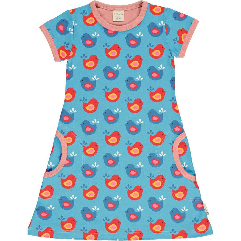 Bright Birds Short Sleeve Dress