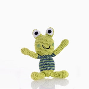 Crochet Frog Rattle Blue