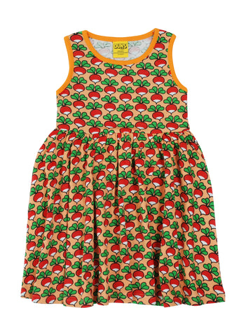 Duns Radish Canteloupe Sleeveless Gather Dress