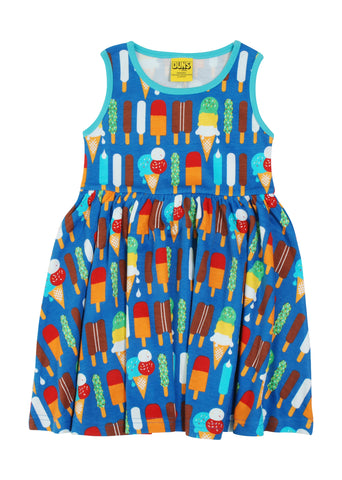 Duns Icecream Blue Sleeveless Gather Dress