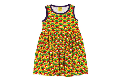 Duns Radish Yellow Sleeveless Dress w gather skirt