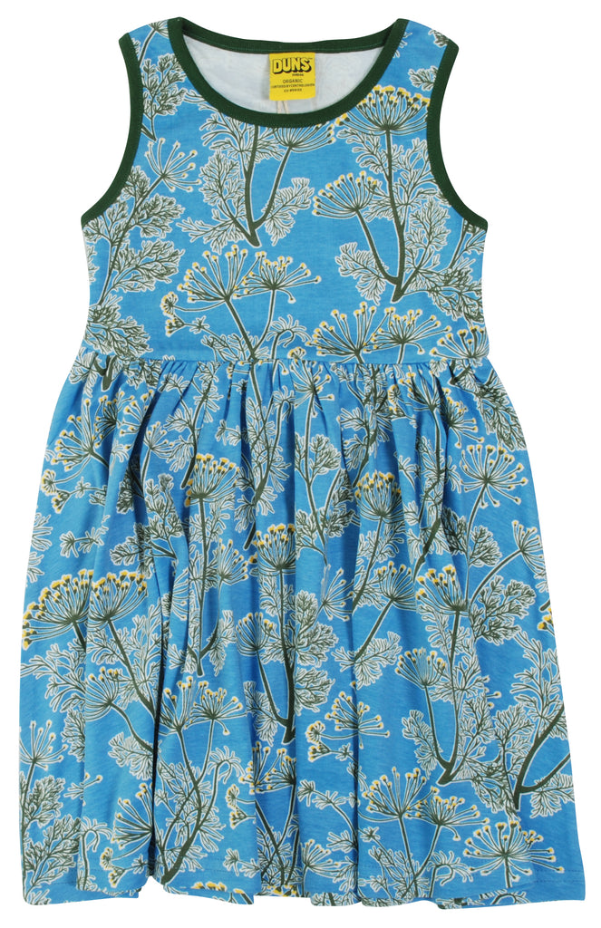 Duns Dill Blue Sleeveless Gather Dress