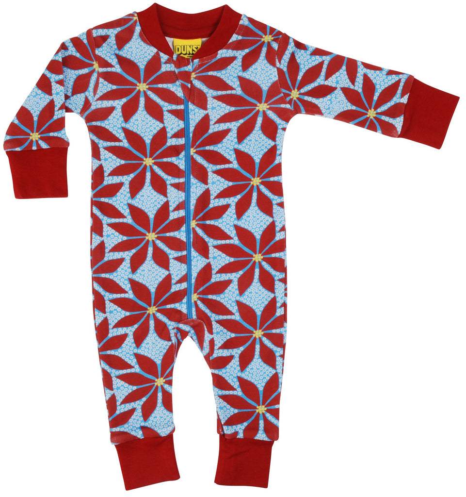 Duns Poinsettia Blue Zipsuit