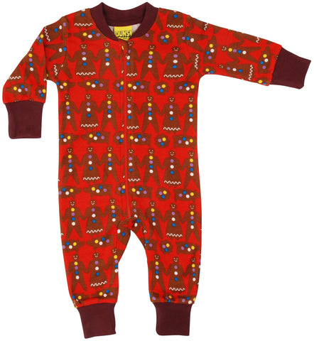 Last ones Duns Gingerbread Man Red zipsuit