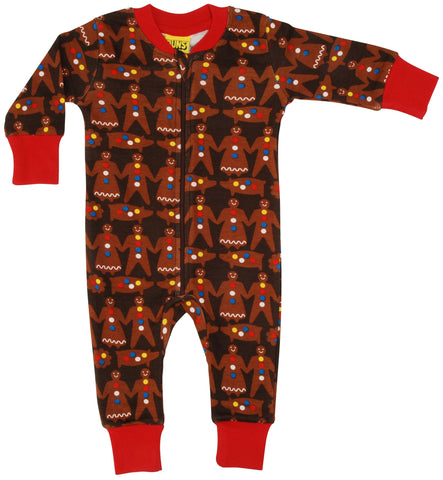 Duns Gingerbread Man Dark Brown zipsuit