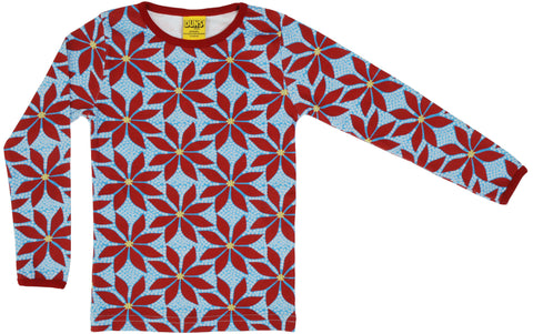 Duns Poinsettia Blue Long Sleeve Top