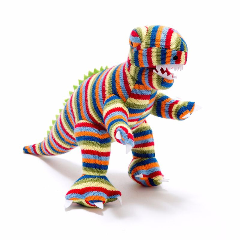 Large Knitted Multi Stripe T-Rex
