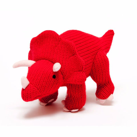 Mini Knitted Triceratops Rattle
