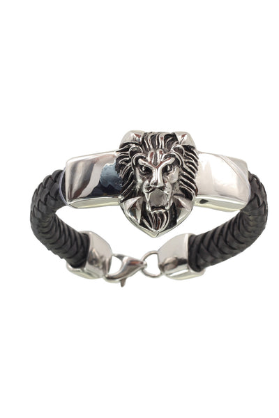 Lion Faced pure Leather Black Stainless Steel Men Bracelet with a Braided Design, Men Bracelet, Svvelte - Svvelte