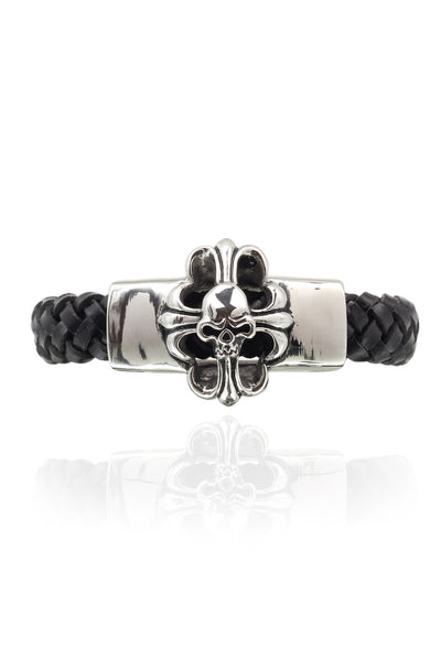 Skull pure Leather Black Stainless Steel Men Bracelet with a Braided Design, Men Bracelet, Svvelte - Svvelte