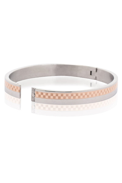 Solid Stainless Steel Bracelet with a half Copper and silver Checked design with Zircon, Men Bracelet, Svvelte - Svvelte