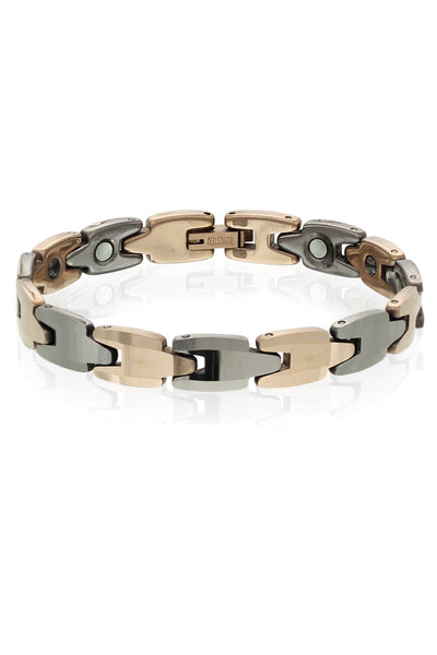 Buy Men Bracelet, Named Solid Tungsten Carbide Panther Link Two Tone Magnetic Bracelet in Stainless Steel, from Svvelte, for Rs. 36.49