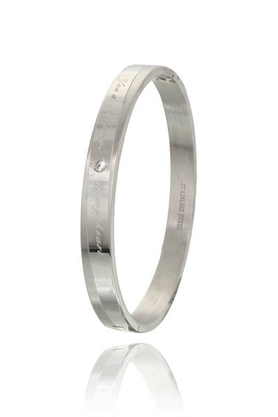 Buy Men Bracelet, Named Solid Stainless Steel Bracelet with Zircon and engraved message, from Svvelte, for Rs. 29.99
