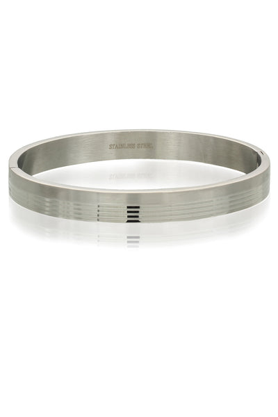 Solid Stainless Steel Bracelet for Men wih Horizontal lines, Men Bracelet, Svvelte - Svvelte
