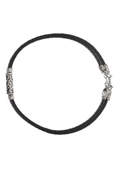 Men's Unique Plaited Black Pure Leather Necklace with Stainless Steel Design at back and front, Men Chain, Svvelte - Svvelte