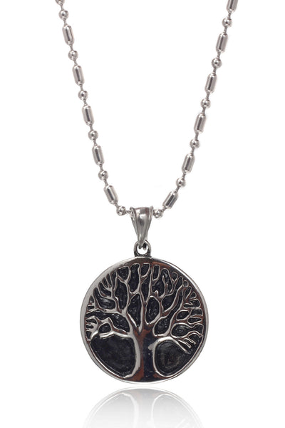 Buy Men Chain and Pendant, Named Stainless Steel Men's Military Link Chain with a Stainless Steel Tree in a Black coloued Circle Pendant, from Svvelte, for Rs. 34.99