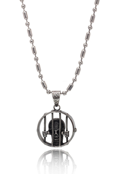 Stainless Steel Men's Military Link Chain with  a Duo Colour unique Stainless Steel ghostly skull face behind Bars Pendant, Men Chain and Pendant, Svvelte - Svvelte
