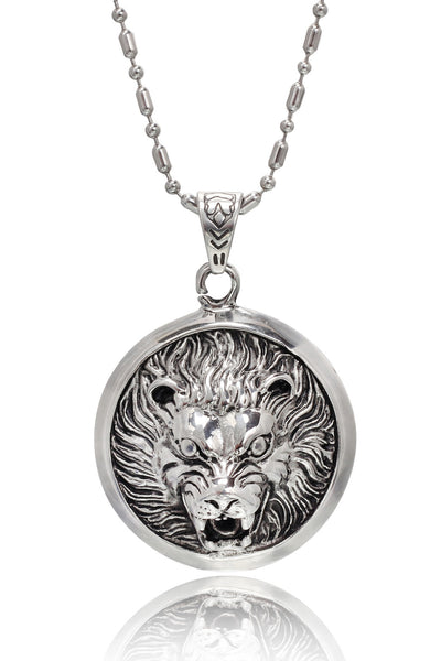 Stainless Steel Men's Military Link Chain with  a Two Tone Stainless Steel Lion face Pendant, Men Chain and Pendant, Svvelte - Svvelte