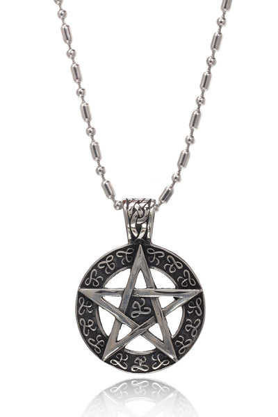 Stainless Steel Men's Military Link Chain with  a Two Tone Stainless Steel Star in a Circle  Pendant, Men Chain and Pendant, Svvelte - Svvelte
