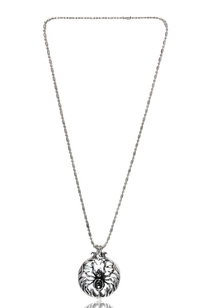 Stainless Steel Men's Military Link Chain with  a Stainless Steel Spider in a Web Pendant with a Stone, Men Chain and Pendant, Svvelte - Svvelte