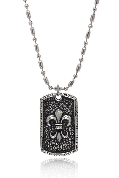 Stainless Steel Men's Military Link Chain with  a Stainless Steel Military Fleur-de-Lys Design Pendant, Men Chain and Pendant, Svvelte - Svvelte