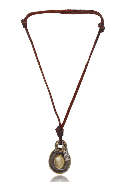 Men's Brown/Tan Pure Leather Adjustable Necklace with a Cowboy hat and ring Design, Men Chain and Pendant, Svvelte - Svvelte