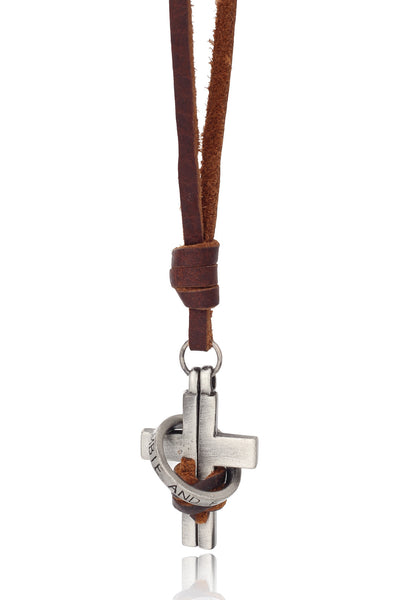 Men's Brown/Tan Pure Leather Adjustable Necklace with a Cross and Ring Pendant, Men Chain and Pendant, Svvelte - Svvelte