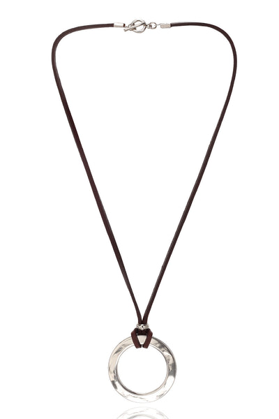 Men's Brown/Tan Pure  Leather Necklace With Stainless Steel Circular  Pendant, Men Chain and Pendant, Svvelte - Svvelte