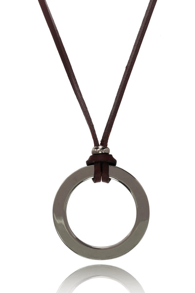 Buy Men Chain and Pendant, Named Men's Brown/Tan Pure  Leather Necklace With Stainless Steel Circular  Pendant, from Svvelte, for Rs. 22.49