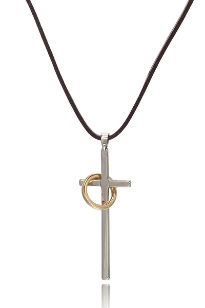 Men's Modern Duo coloured Brown/Tan Pure Leather Necklace of Stainless Steel with Cross Pendant and a Ring, Men Chain and Pendant, Svvelte - Svvelte