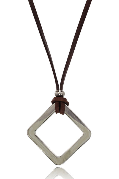 Buy Men Chain and Pendant, Named Men's Brown/Tan Pure  Leather Necklace With Stainless Steel Diamond Shape  Pendant, from Svvelte, for Rs. 22.49